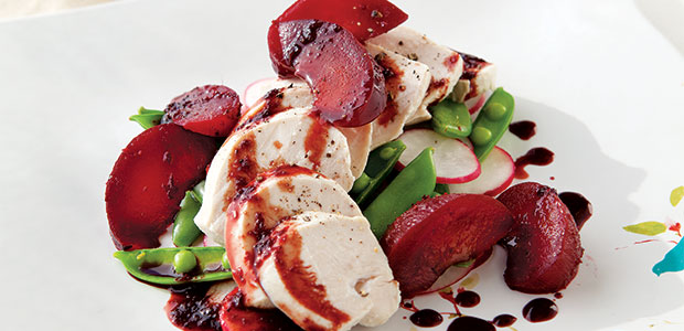 Chicken with Wine-Poached Plums