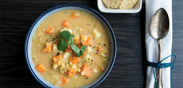 Spicy Thai Yam and Lentil Soup