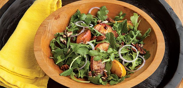 Grilled Apple and Arugula Salad with Citrus Dressing and Toasted Pecans