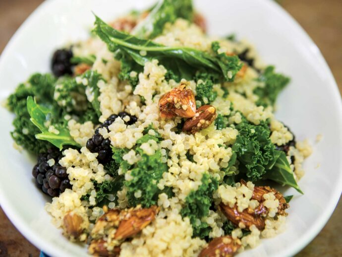 Kale, Quinoa, and Blackberry Salad with Candied Almonds