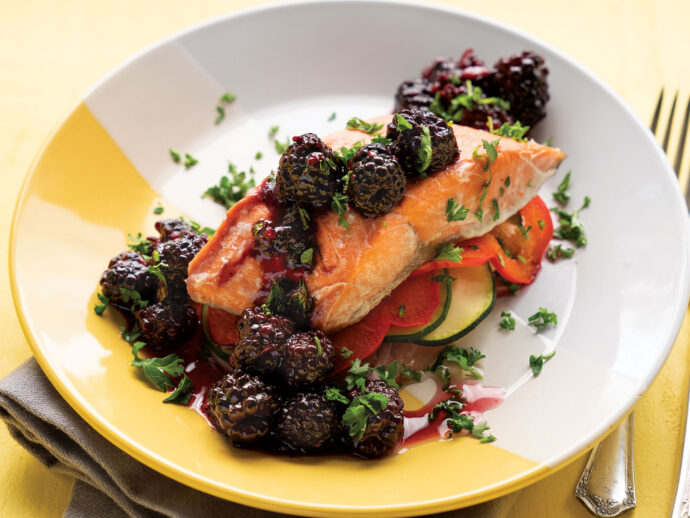 Salmon En Papillote with Blackberry Sauce
