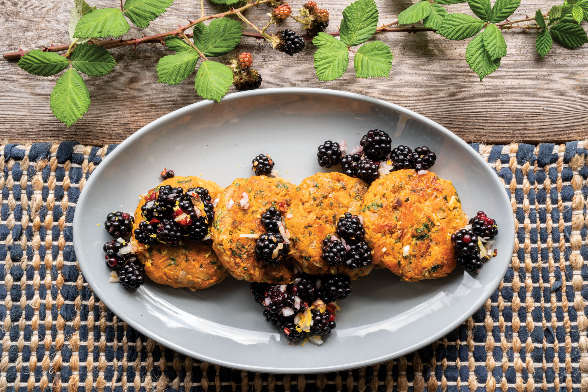 Roasted Jewel Yam Cakes with Blackberry Salsa