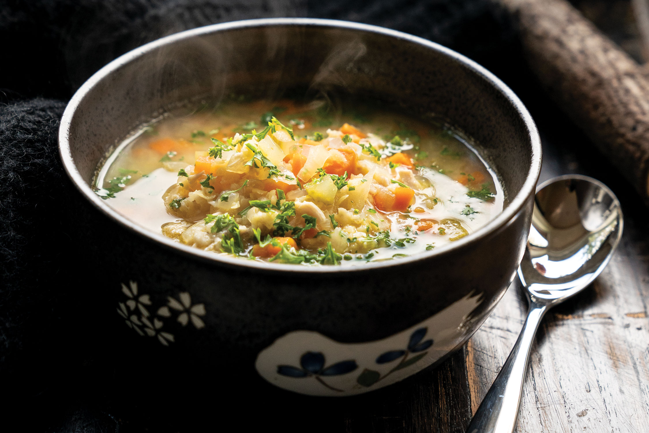 Soothing Chicken with White Lentil Soup