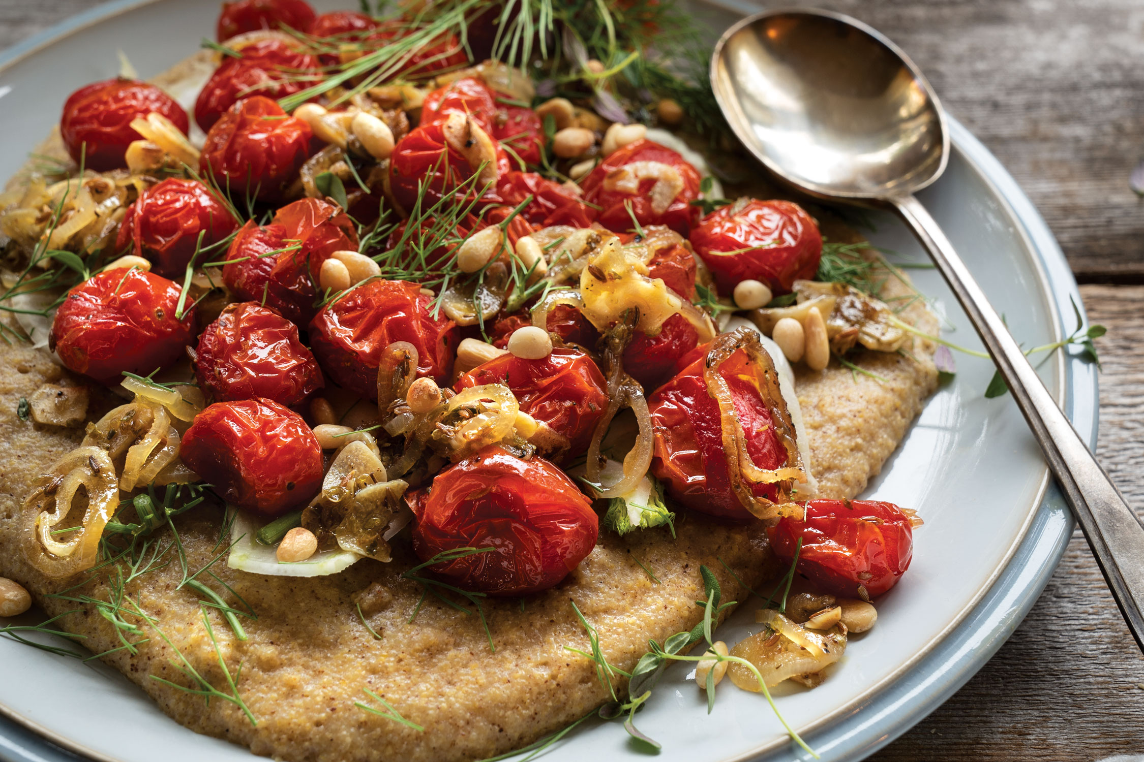 Roasted Cherry Tomatoes on Creamy Polenta