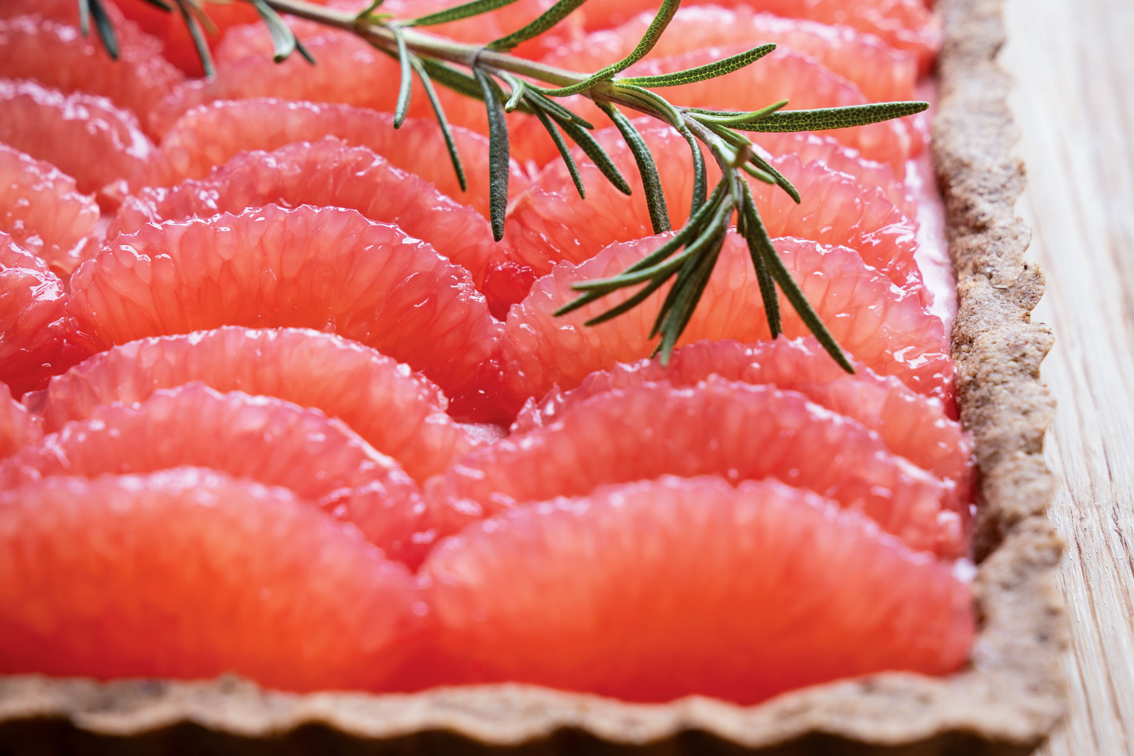 Red Grapefruit and Rosemary Tart