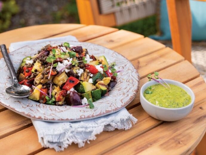 Grilled Ratatouille Lentil Salad